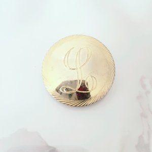 L Monogram Initial Gold Tone Vintage Pinup